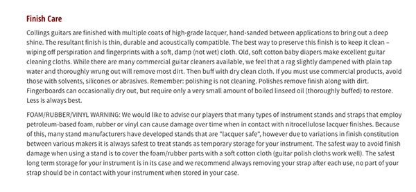 吉他保養 - collings節錄
